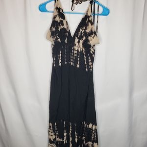 Angl black bleached tie dye maxi dress